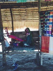 The women sell their hand made textiles