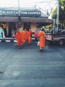 Monks crossing the street